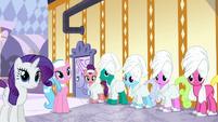 Ponies listening to Applejack S6E10