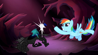 Rainbow Dash punches a changeling S5E13