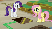 Rarity and Fluttershy see floor hatch open S7E2