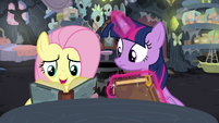 Fluttershy reads one of Meadowbrook's journal entries S7E20