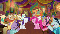Pinkie, Rarity, and ponies overjoyed S6E12