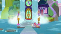 Cutie Mark Crusaders waiting outside the school S8E12