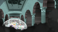 Mane Six and Pillars in a magic barrier S7E26