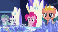 Mistmane, Rarity, Pinkie, and Somnambula looking sad S7E26