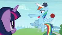 Rainbow holding a buckball offensively S9E15
