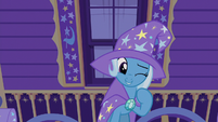 Trixie winking at Starlight Glimmer off-stage S7E24