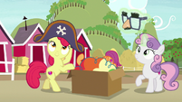 Apple Bloom and Sweetie Belle putting on costumes S7E8