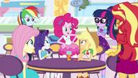 Equestria Girls appear around AJ and Rarity EGROF