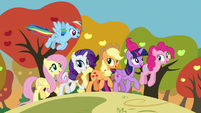 Mane Six trotting through fall S7E2