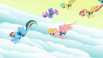 Rainbow Dash and the pegasi start over S1E11