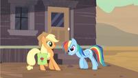 Rainbow Dash scolding Applejack S2E14