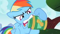 Rainbow Dash tries to open a jar S2E08