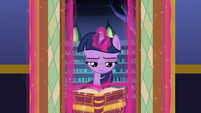 Twilight coming out of the library S8E24