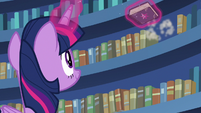 Twilight finds the friendship journal on the shelf S7E14