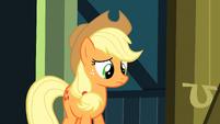 Applejack watching Apple Bloom run off S3E4