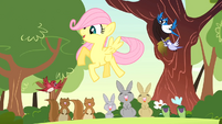 Filly Fluttershy with woodland creatures S1E23