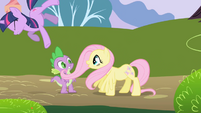Fluttershy accidentally knocks Twilight over S1E01