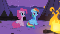 Pinkie Pie and Dash listening to Spike S1E21