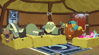 Pinkie Pie and yaks sleeping on beds of hay S7E11