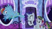 Rainbow kicks cookies out of Rarity's hoof S6E15