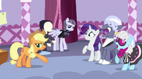 Rarity, Hoity, and Photo Finish surprised by AJ's criticisms S7E9
