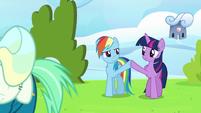 Twilight Sparkle and Rainbow Dash high-hoof S6E24