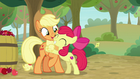 Apple Bloom hugging Applejack again S9E10