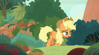 Applejack emerges from bushes exhausted S8E23