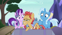 Cortland pops out of Trixie's trunk S8E19