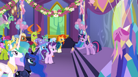 Princess Twilight addressing party guests S7E1