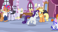 Rarity begs Photo Finish not to leave S7E9