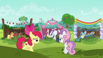 Apple Bloom and Sweetie Belle on a hill S6E14