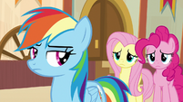 Fluttershy and Pinkie curious about RD's reason S9E6
