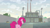 Pinkie Pie approaching the factory S9E14