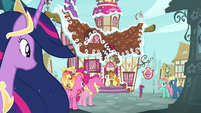 Pinkie and Luster approach Sugarcube Corner S9E26