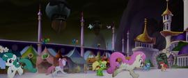 Ponies running around Canterlot in terror MLPTM