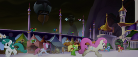Ponies running around Canterlot in terror MLPTM