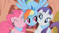 Rainbow Dash hugs Pinkie Pie and Rarity S1E07