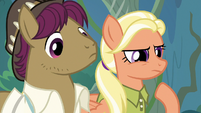 Scootaloo's parents look at the tracks S9E12