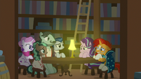 Starlight and Sunburst talk to ponies while hiding S8E8