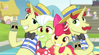 Apple Bloom, Granny, Flim, and Flam smiling S4E20
