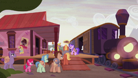 Distressed ponies boarding the train S5E25