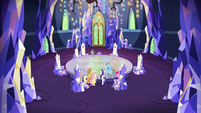 Mane Six and Spike in the throne room S9E13