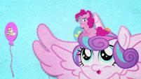 Pinkie Pie sitting on Flurry Heart's head BFHHS2