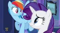 Rainbow Dash and Rarity look at each other EG