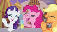 Rarity, Pinkie Pie, and Applejack laughing S9E26