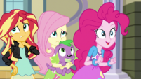 Sunset, Fluttershy, and Spike unsure; Pinkie excited EGS1