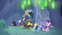 Discord, Starlight, and Trixie watch the entrance close S6E25
