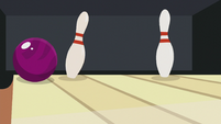 Dr. Hooves' ball taps one of the bowling pin S5E9