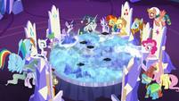 Mane Six and Pillars looking at the Cutie Map S7E26